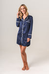 Women's Personalised Pyjamas - Navy Boyfriend Nightie / Night Shirt