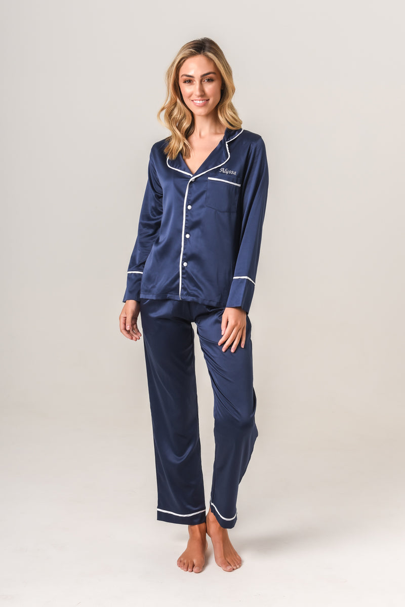 Women's Personalised Pyjamas - Navy Winter Set