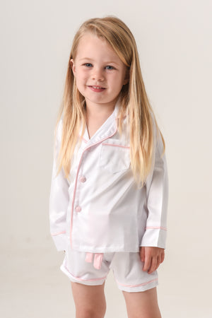 Kids Personalised Pyjamas - White with Pink Piping Long-Sleeve Short Set