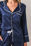 Luxurious Personalised Pyjamas - Navy (With White) Winter Set