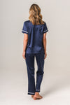 Luxurious Personalised Pyjamas - Navy (With White) Autumn Set