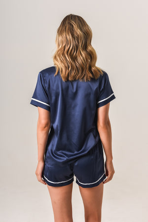 Luxurious Personalised Pyjamas - Navy (With White) Summer Set