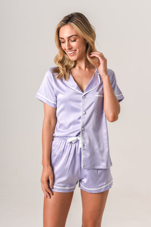 Women's Personalised Pyjamas - Lilac (With White) Summer Set