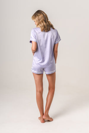 Luxurious Personalised Pyjamas - Lilac (With White) Summer Set