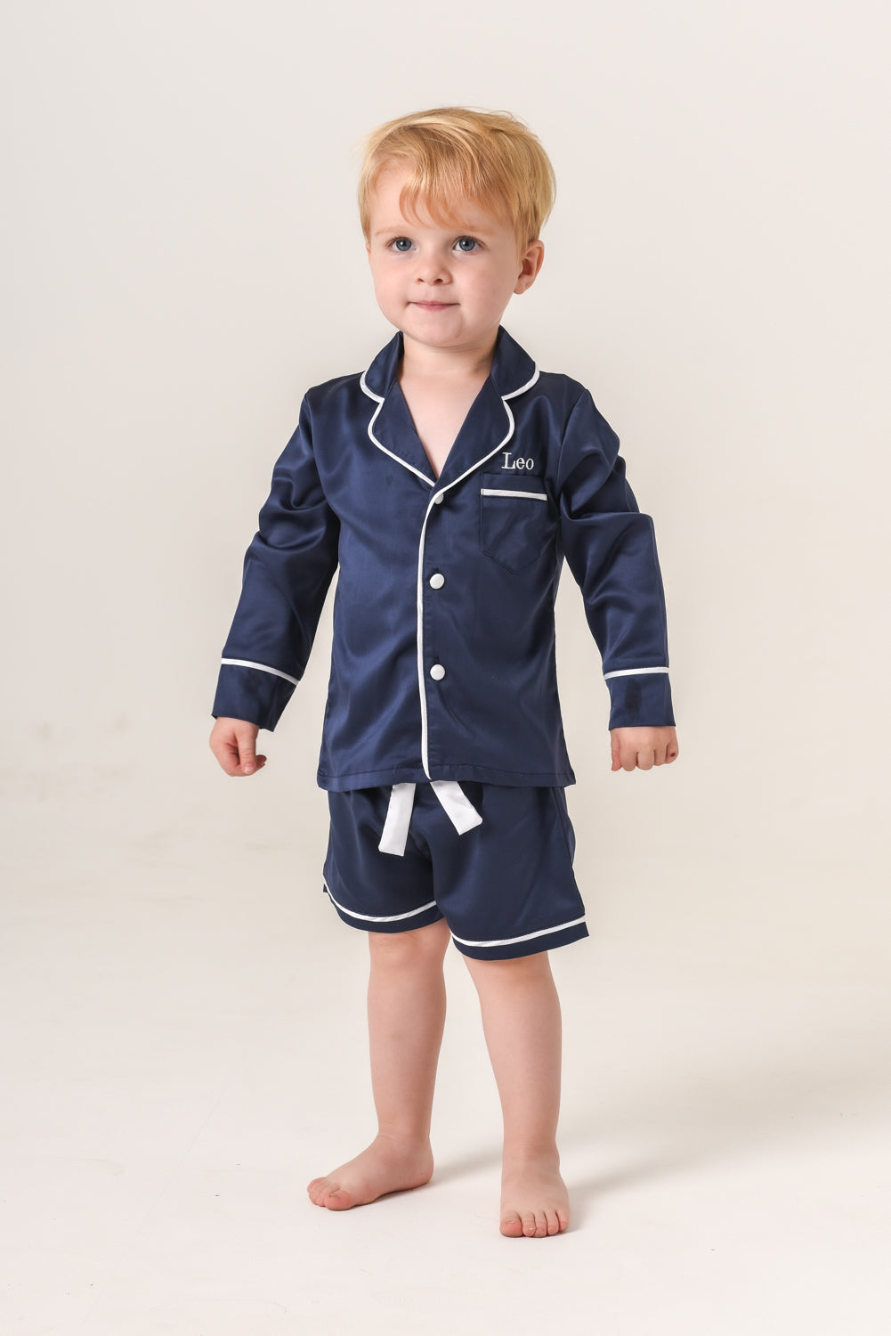 Kids Personalised Pyjamas - Navy Long-Sleeved Short Set