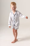 Kids Personalised Pyjamas - White Long-Sleeve Short Set