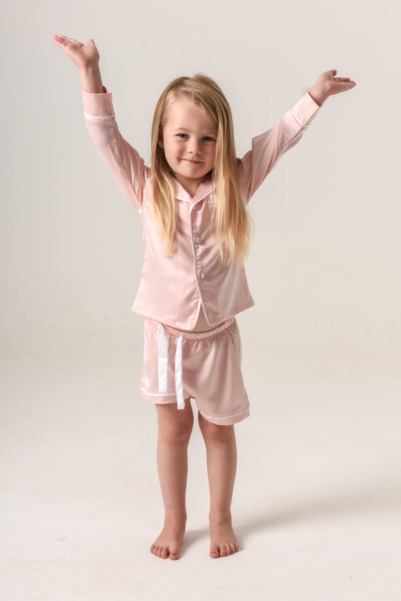 Girls Personalised Pyjamas - Blush (With White) Long-Sleeve Short Set