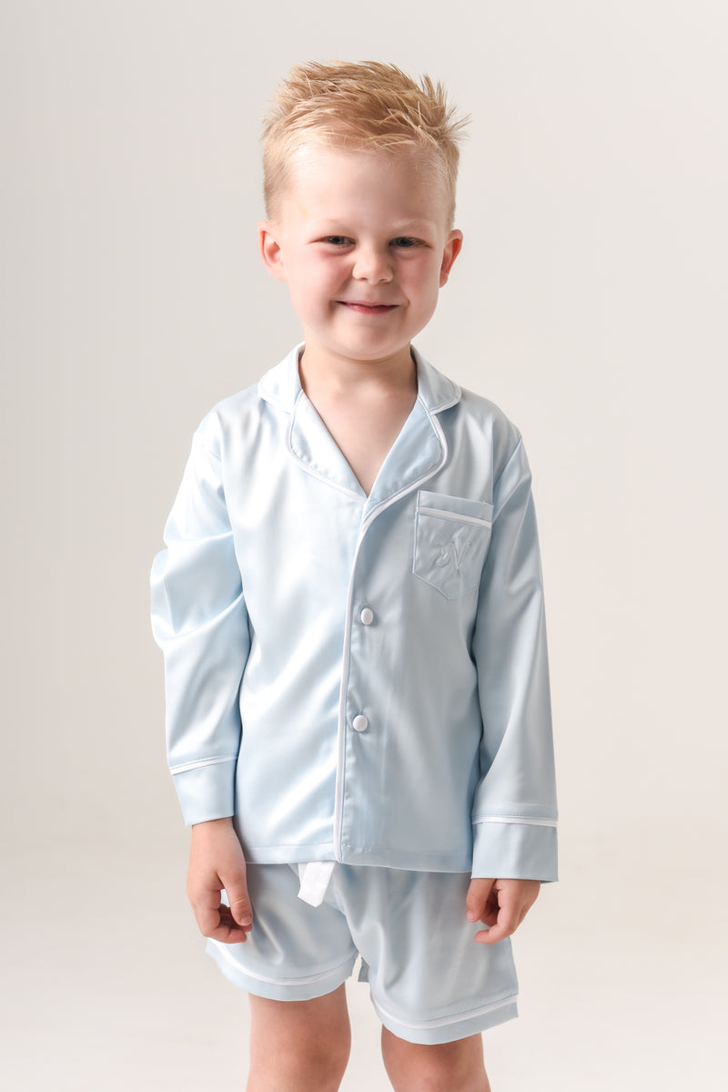 Kids Personalised Pyjamas - Baby Blue Long-Sleeve Short Set