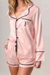 Luxurious Personalised Pyjamas - Blush (With Black) Spring Set