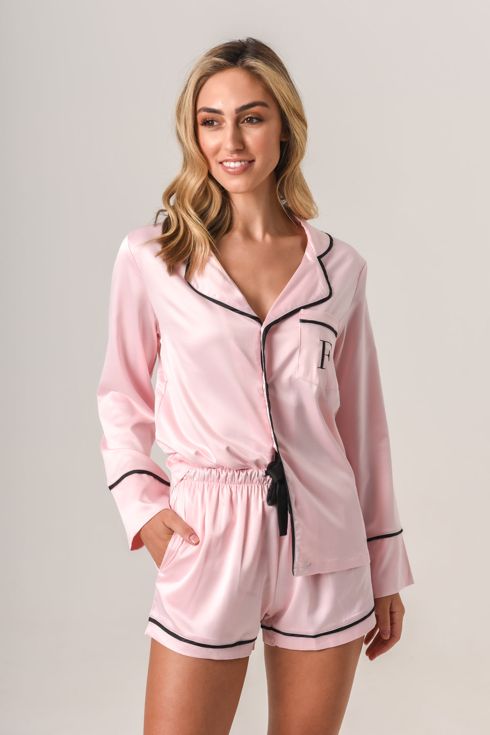 Luxurious Personalised Pyjamas - Baby Pink (With Black) Spring Set