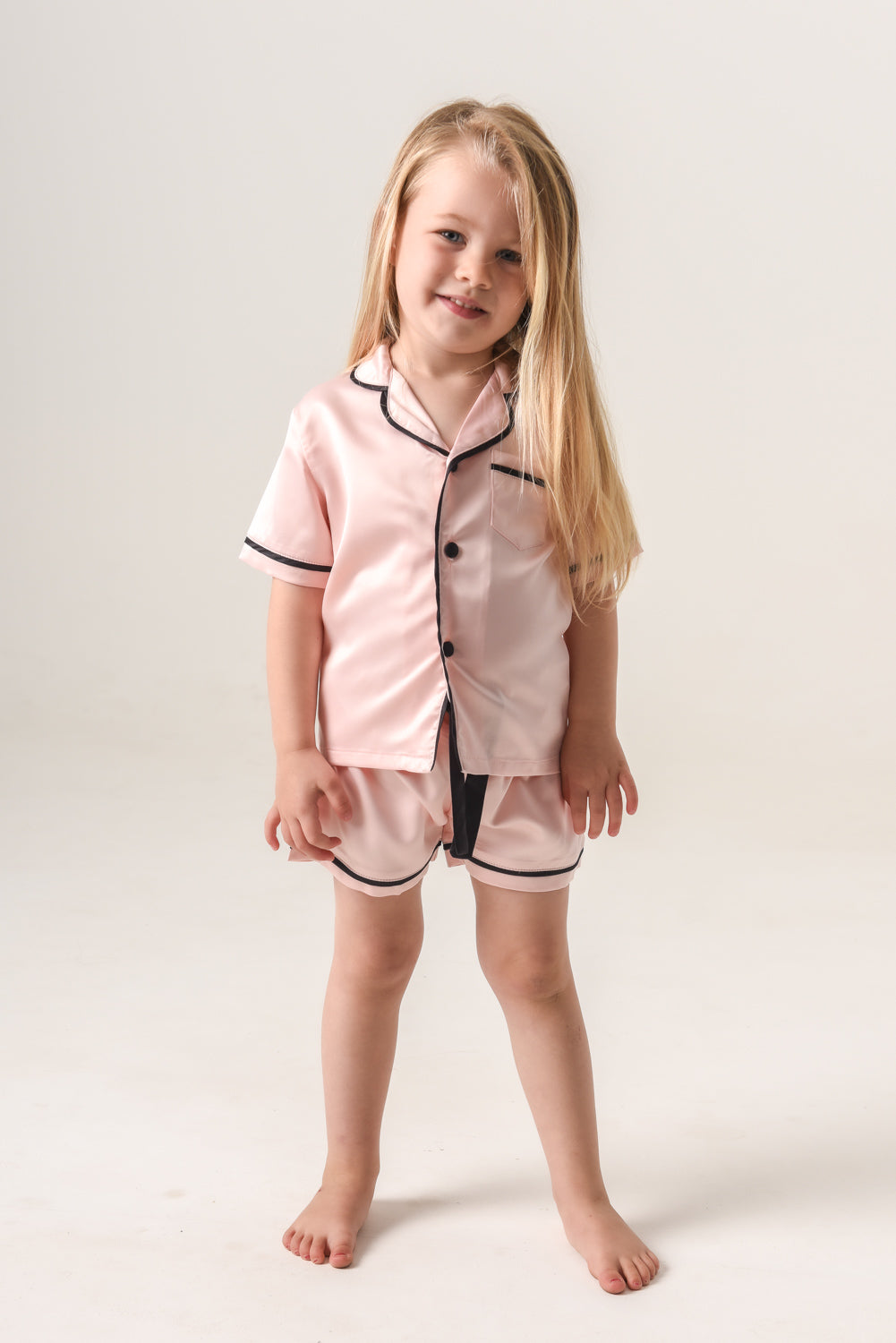 Kids Personalised Pyjamas - Blush (With Black Piping) Short-Sleeve Short Set