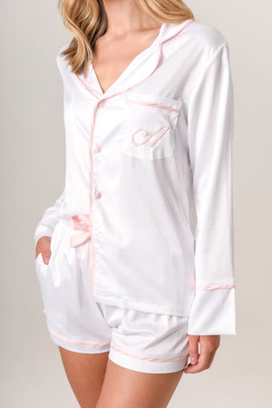 Luxurious Personalised Pyjamas - White (With Baby-Pink) Spring Set
