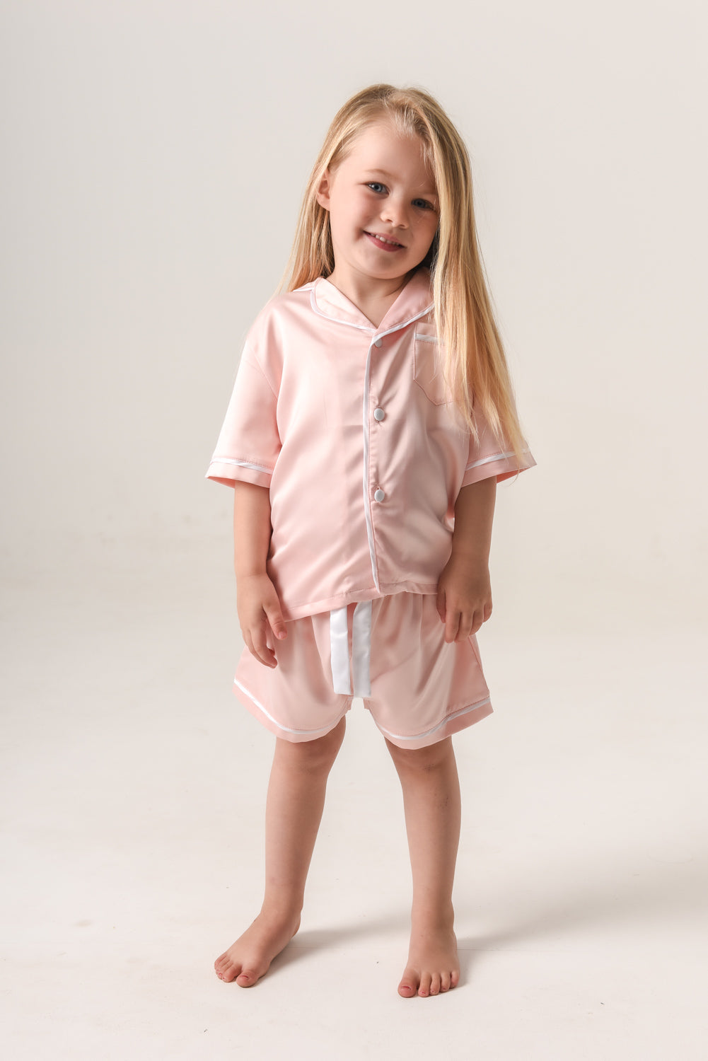 Girls Personalised Pyjamas - Blush (With White) Short-Sleeve Short Set