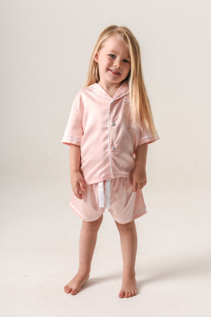 Kids Personalised Pyjamas - Blush (With White) Short-Sleeve Short Set