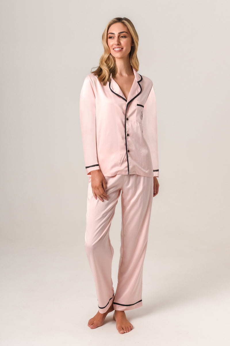 Luxurious Personalised Pyjamas - Blush (With Black) Winter Set
