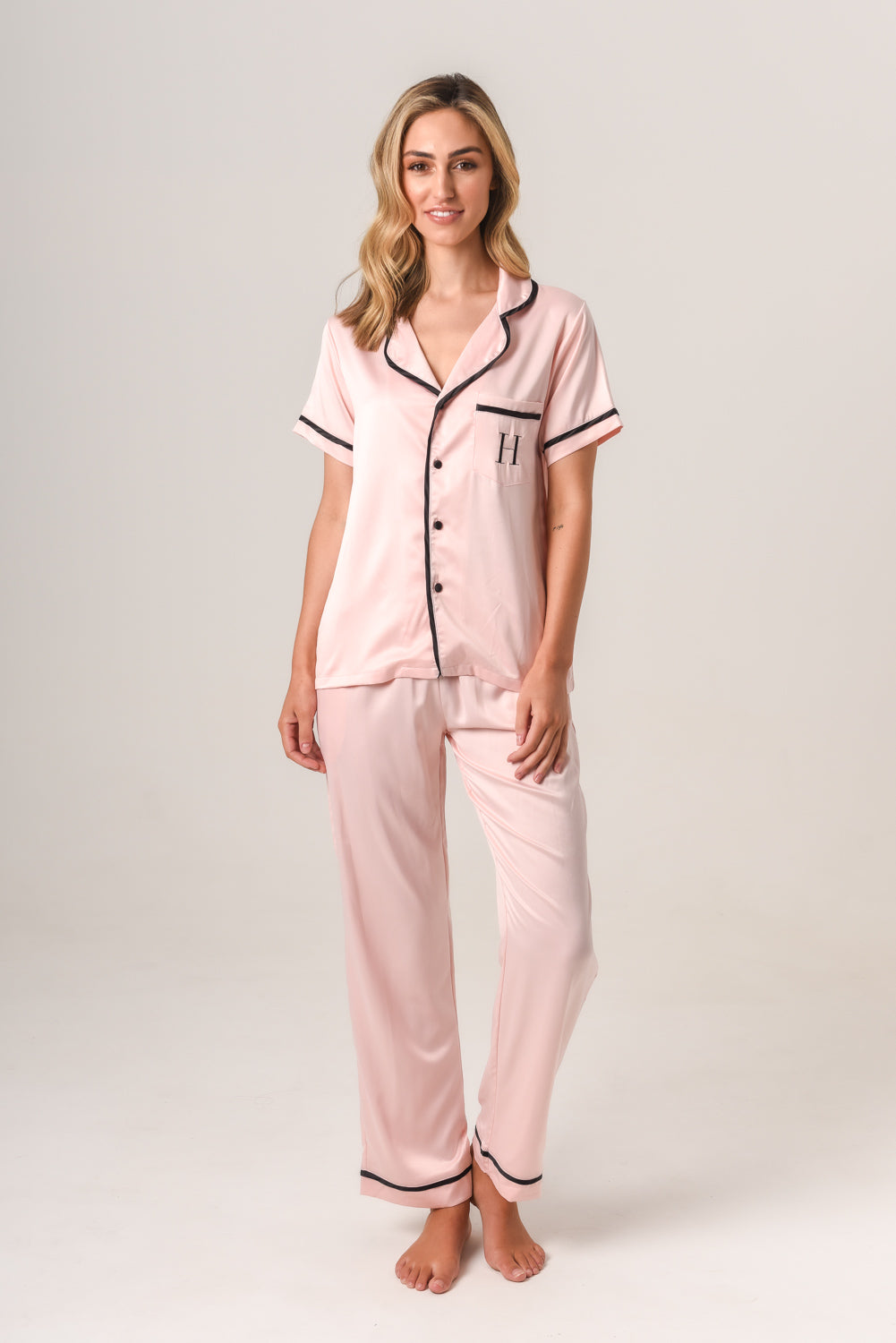 Luxurious Personalised Pyjamas - Blush (With Black) Autumn Set