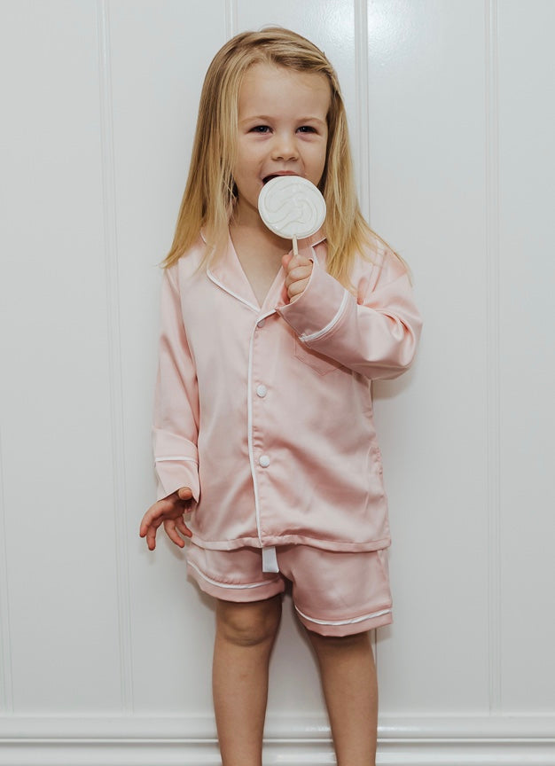 Girls Personalised Pyjamas - Blush Long-Sleeve Short Set