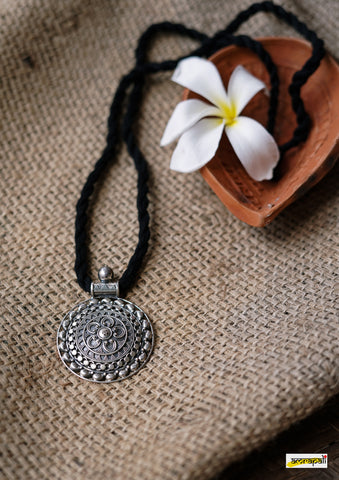 Pure Silver Tribal Art Embossed Pendant Necklace