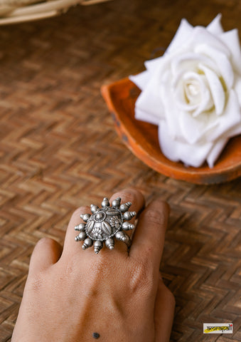 German Silver Floral Adjustable Surya Ring