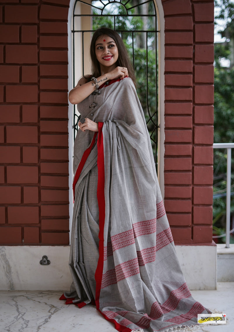 Handloom Cotton with Dual Striped Woven Palla
