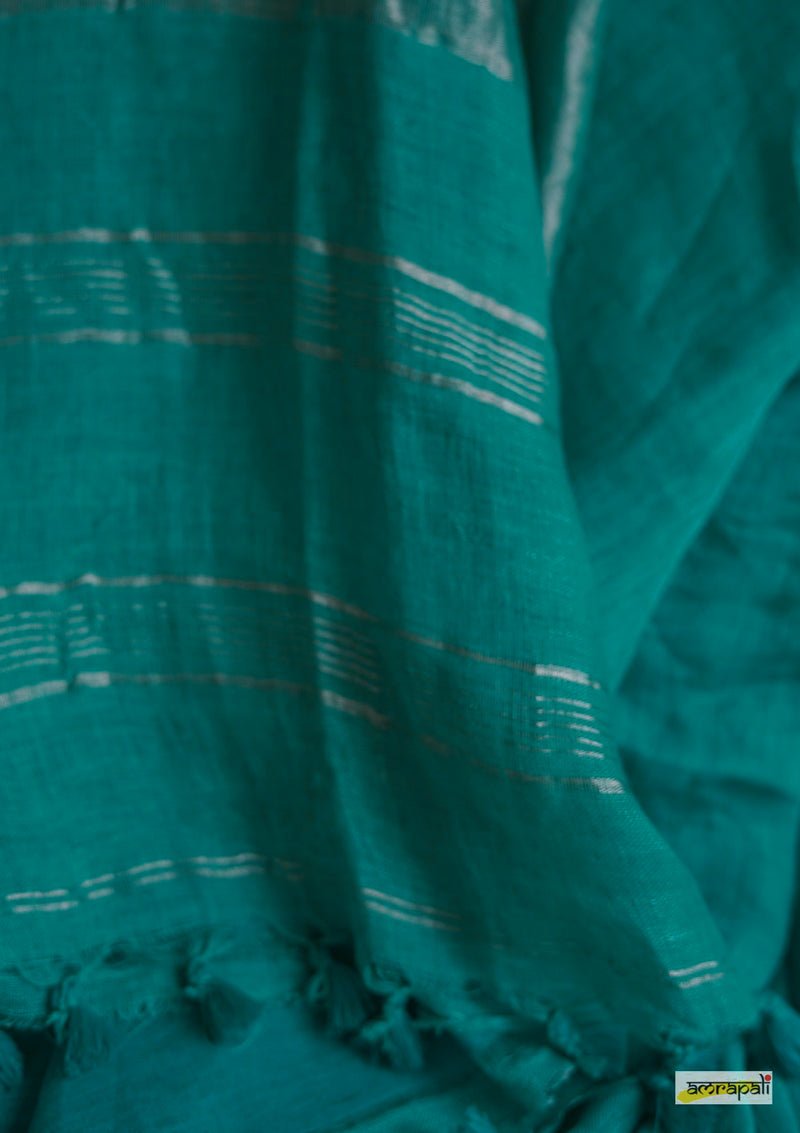 Handwoven Pure Linen with Zari Border - Cyan