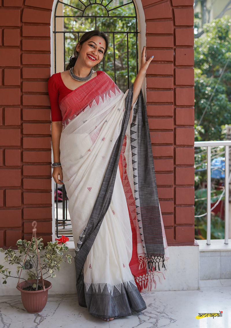 Pure Handloom Cotton Jamdani with Temple Border