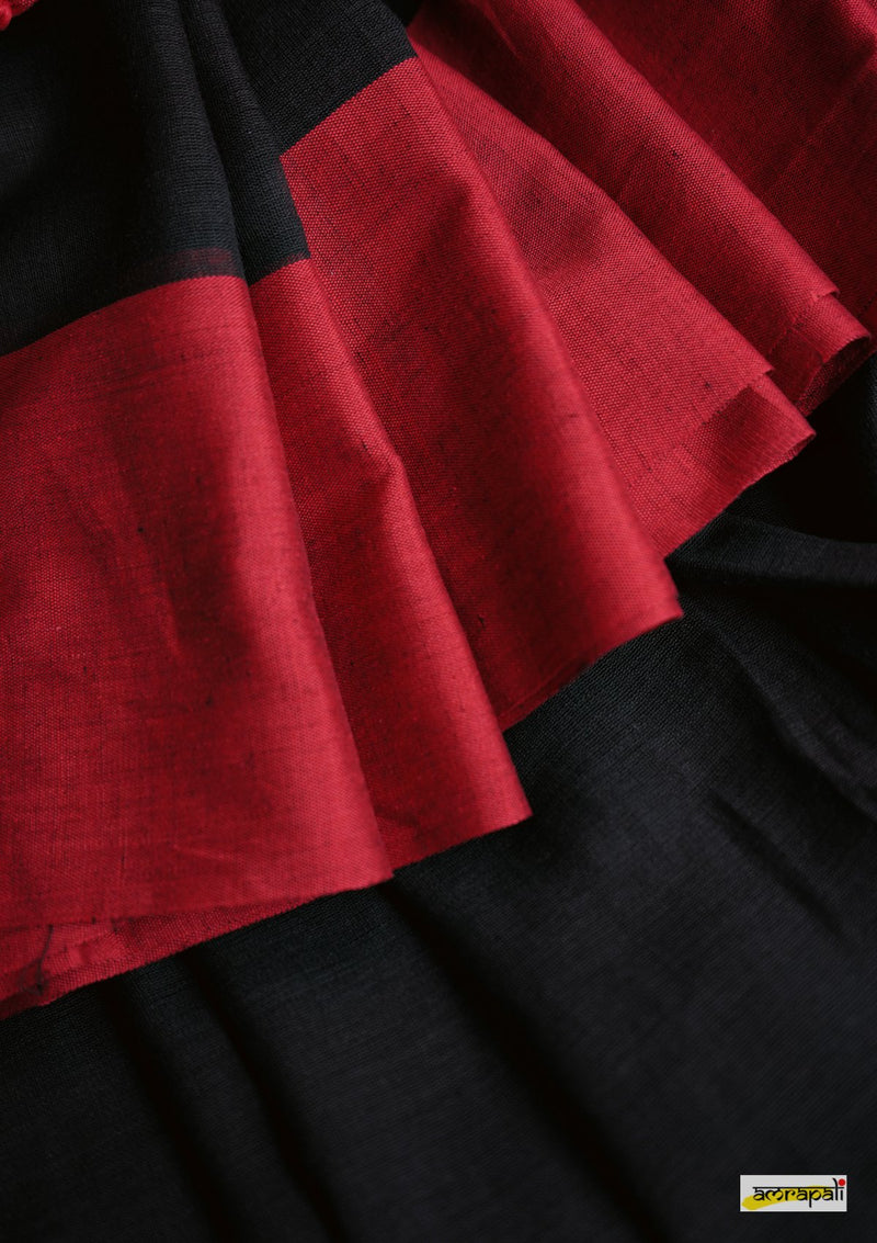 Black Handloom Cotton with Tassels