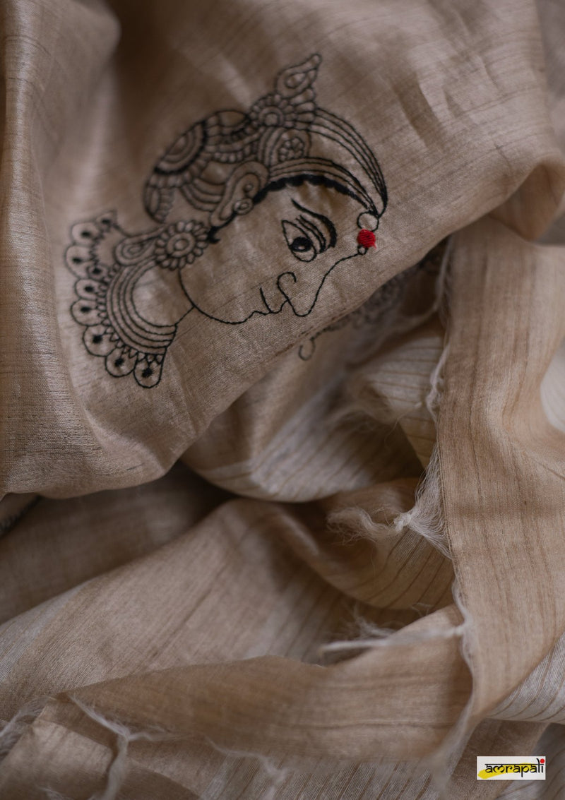 Handwoven Pure Tussar with Embroidered Kalamkari Face Motifs
