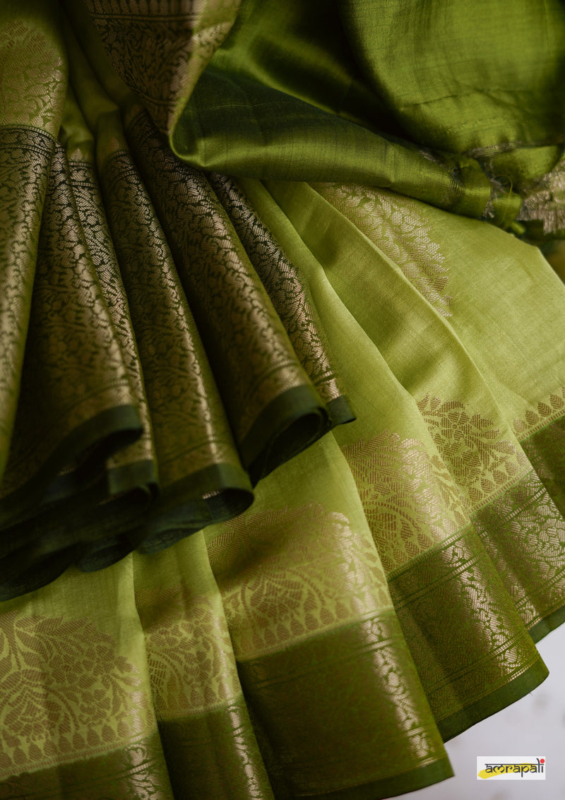 Handwoven Pure Muga Benarasi with Antique Gold Motifs