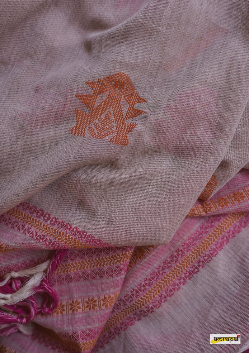 Handwoven Pure Mercerised Cotton Jamdani with Manipuri Pattern Threadwork