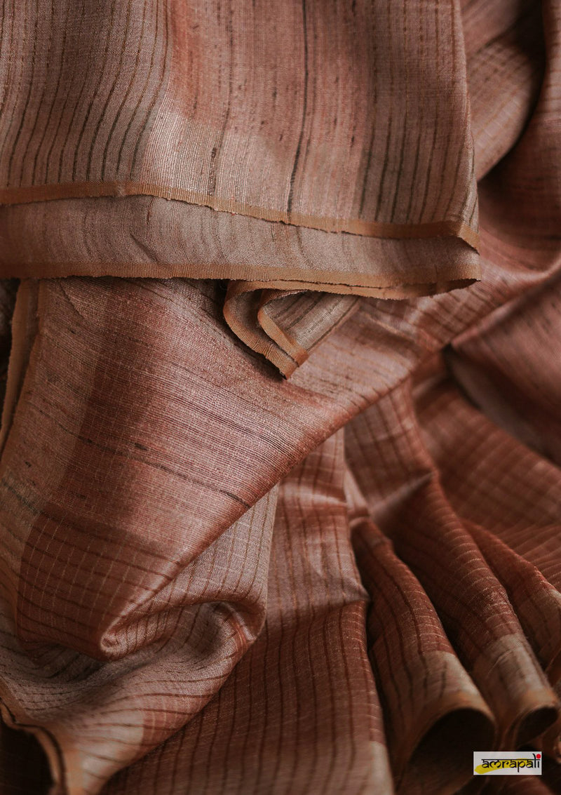Handwoven Pure Tussar with Copper and Gold Zari Pinstripes
