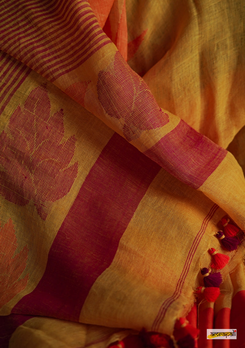 Handwoven Pure Linen Jamdani with Temple Border and Leaf Motif