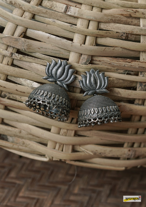 German Silver Oxidized Lotus Jhumkas