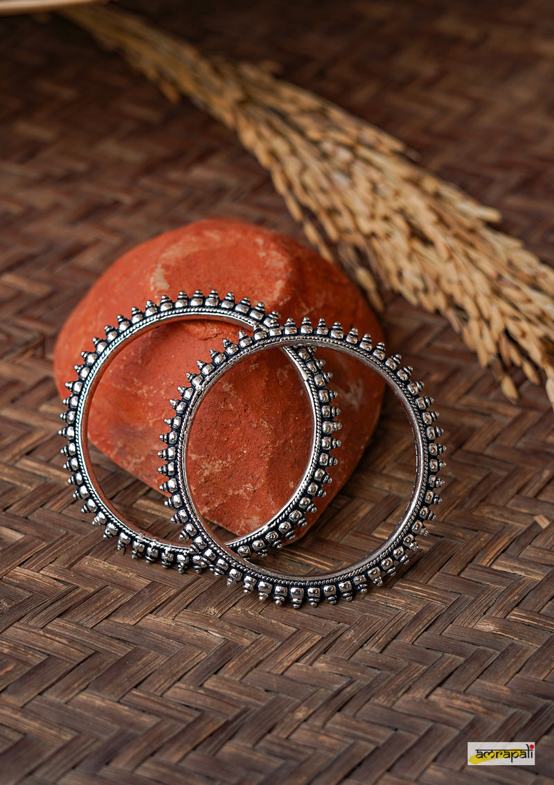 German Silver Dome Carved Tribal Bangles