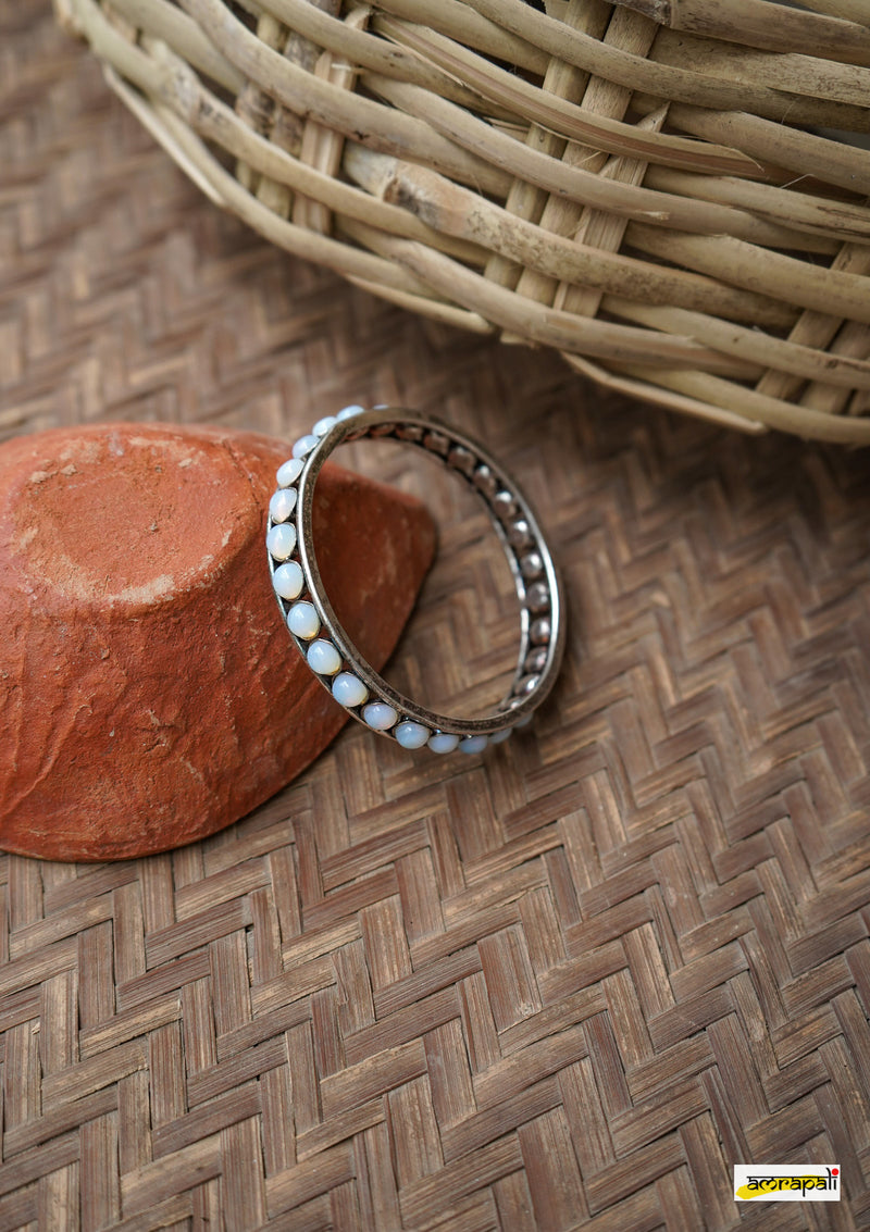 Stone Beaded German Silver Bangle