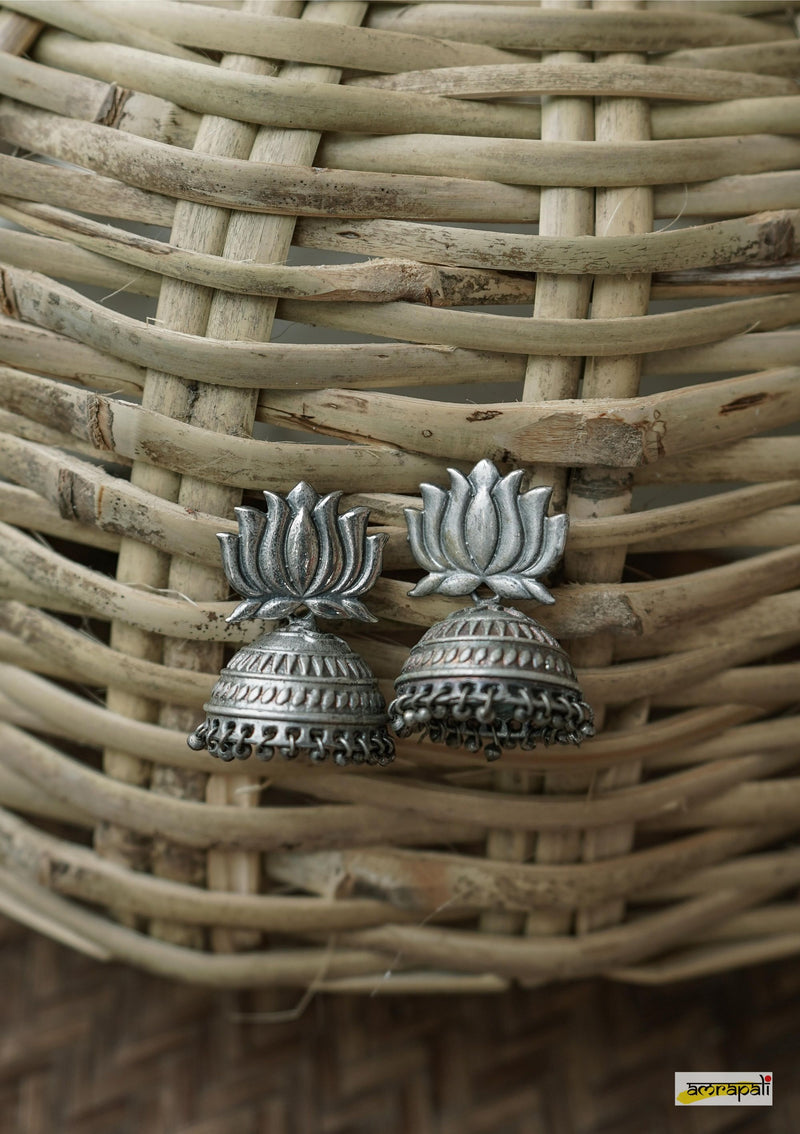 German Silver Antique Lotus Motif Jhumkas