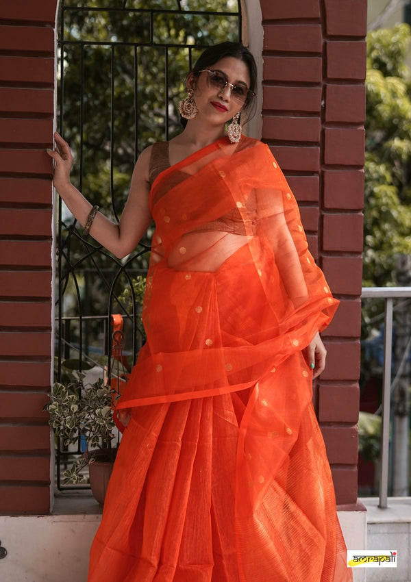 Matka Muslin Resham with Jamdani Buti - Orange