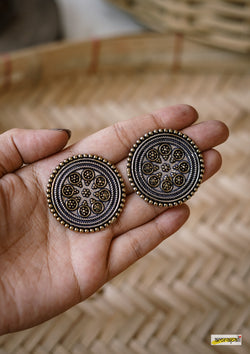 Dual-toned Spiral Statement Studs