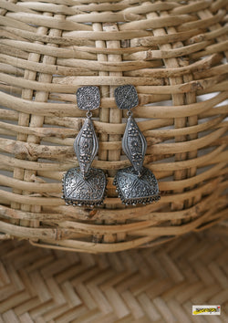 German Silver Oxidised Geometric Jhumkas
