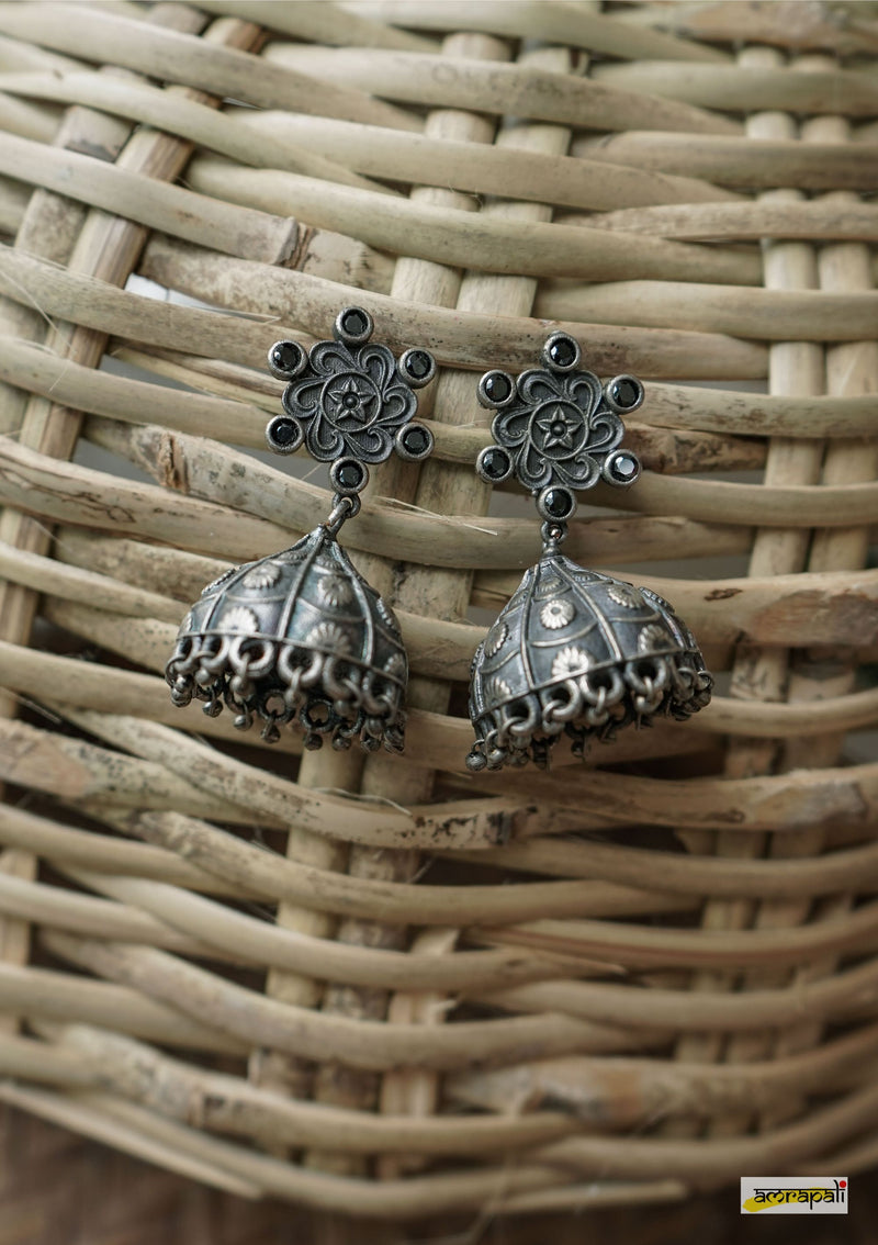 Black Stone-studded German Silver Antique Floral Jhumkas