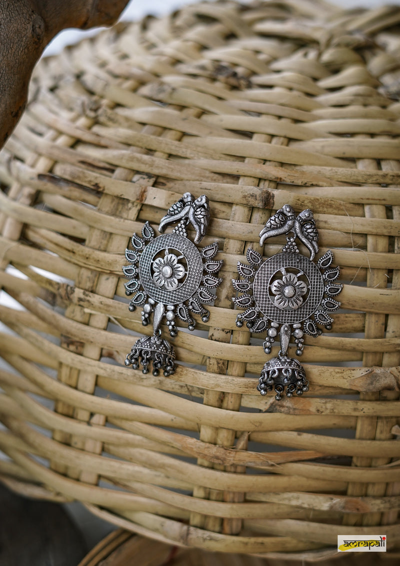 German Silver Bird Motif Temple Earrings