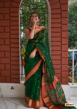 Green Handloom Pure Chanderi Katan Silk