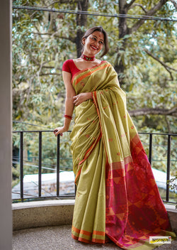 Pure Handwoven Spun Tussar Silk with Resham Threadwork