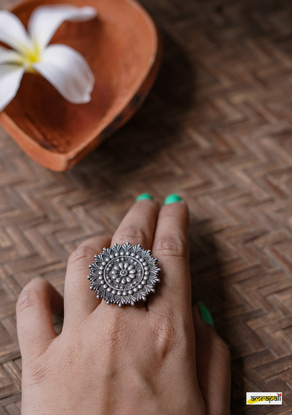 Floral Pattern Adjustable Oxidised German Silver Ring