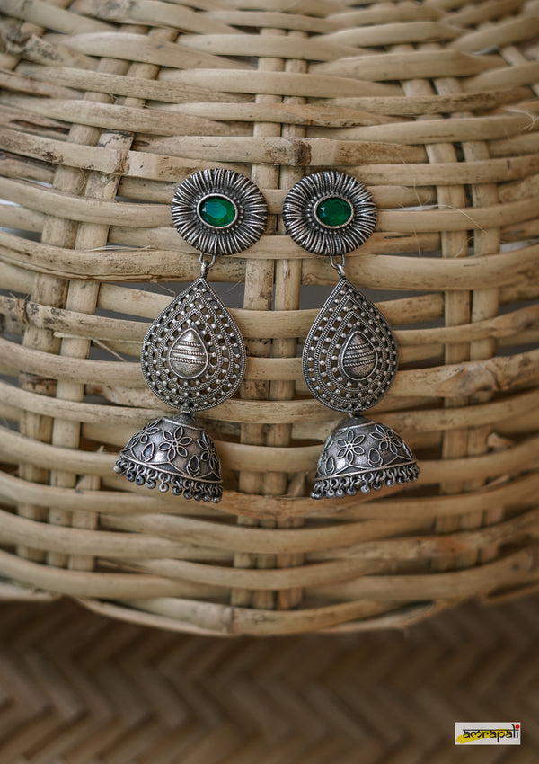 Stone-studded German Silver Leaf Drop Jhumkas - Green