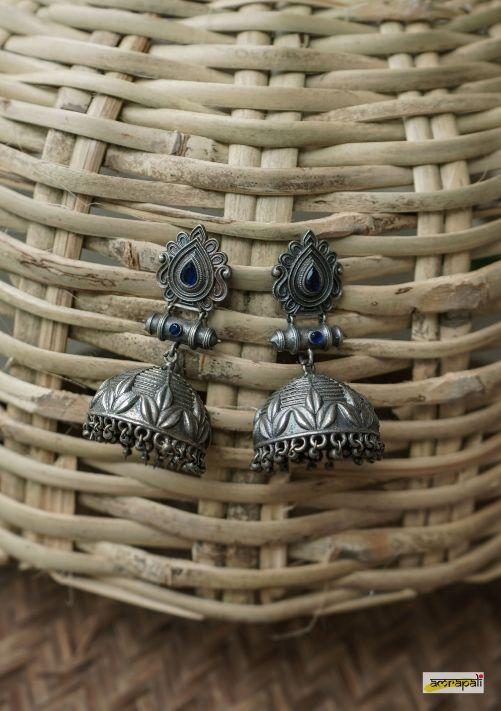 Blue stone-studded German Silver Floral Jhumkas