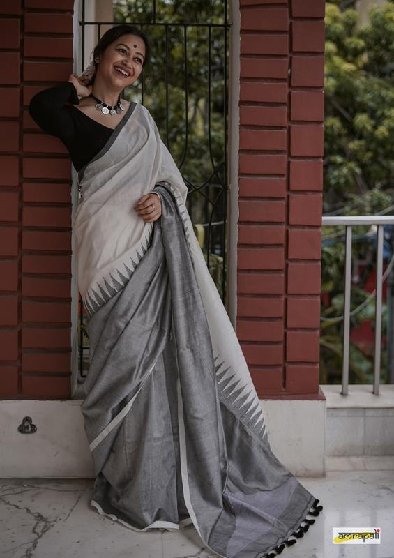 Handloom Cotton Jamdani with Temple Border