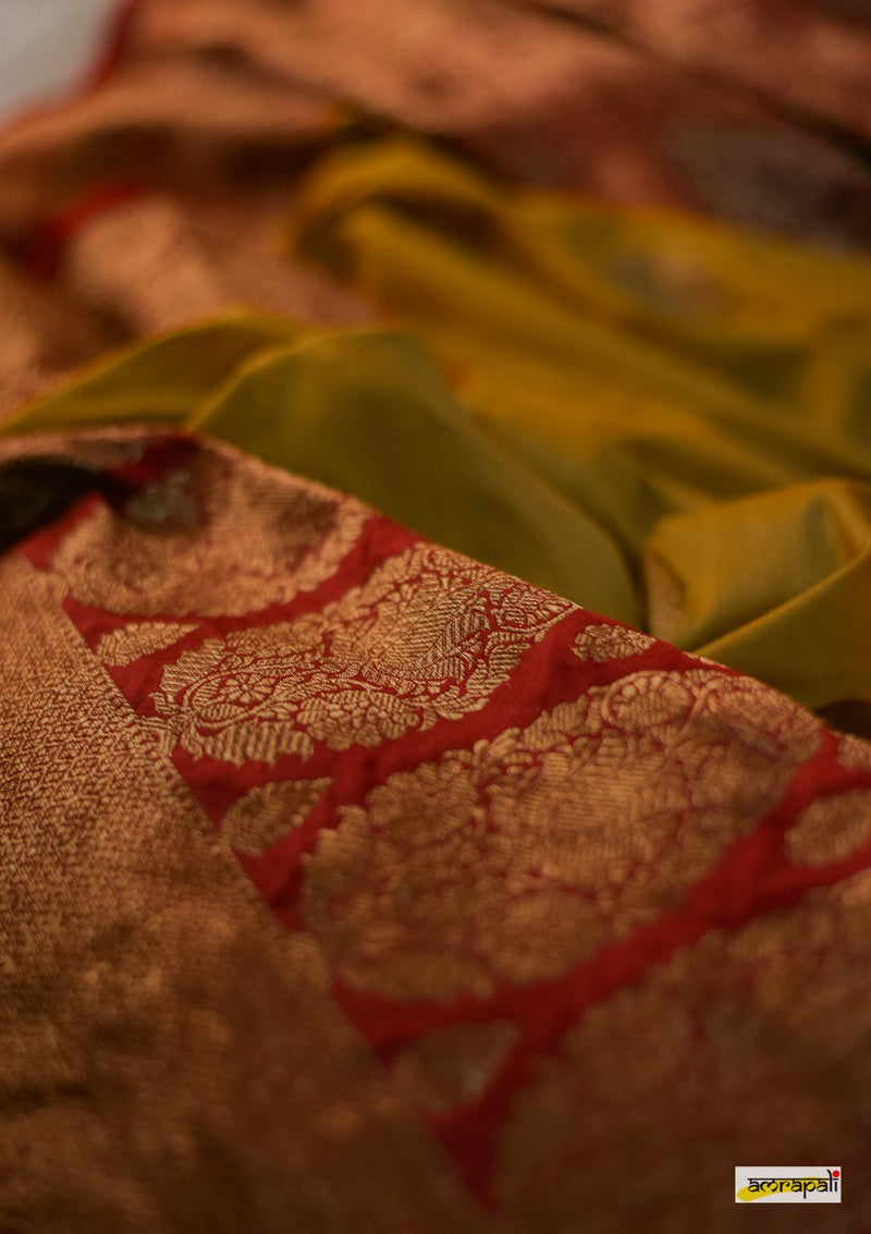 Handwoven Yellow Pure Tussar Benarasi