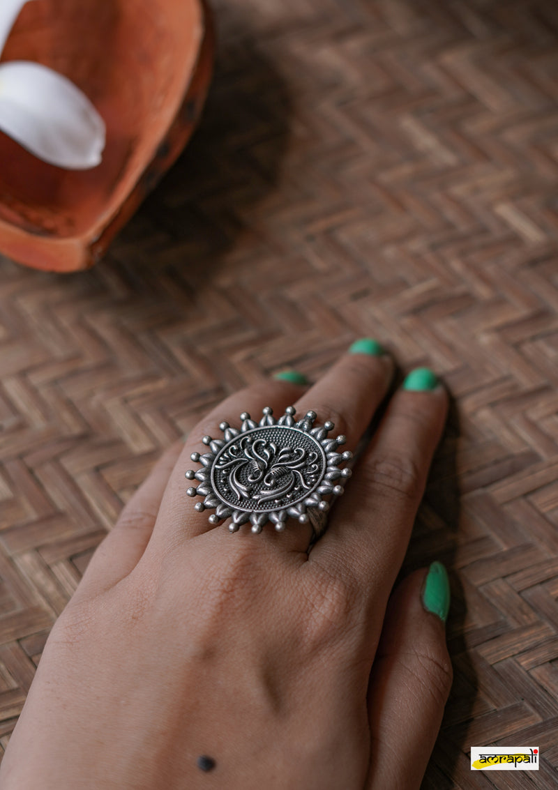 Peacock Motif Adjustable Oxidised German Silver Ring