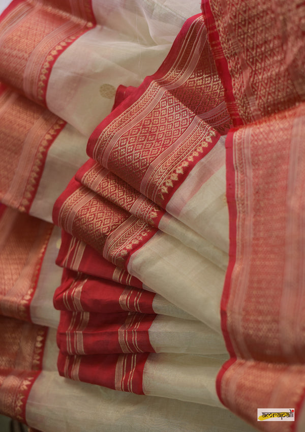 Cream Handwoven Tissue Silk Gossamer Chanderi